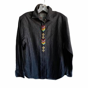 Wrangler VTG Black Western Tribal Denim Shirt